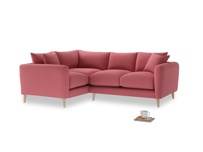 Large Left Hand Squishmeister Corner Sofa in Raspberry brushed cotton