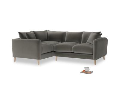 Large Left Hand Squishmeister Corner Sofa in Slate clever velvet