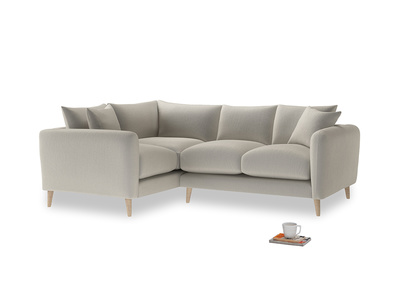 Large Left Hand Squishmeister Corner Sofa in Smoky Grey clever velvet