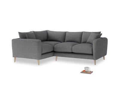 Large Left Hand Squishmeister Corner Sofa in Strong grey clever woolly fabric