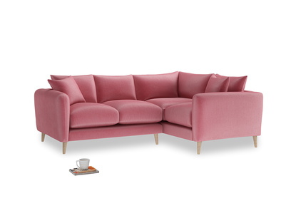 Large Right Hand Squishmeister Corner Sofa in Blushed pink vintage velvet