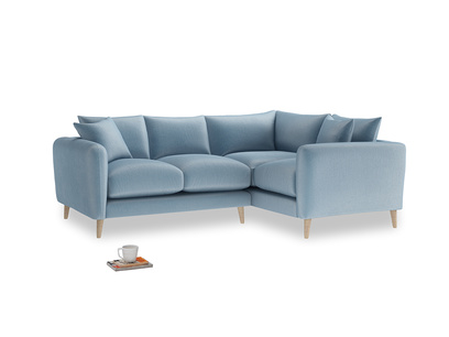 Large Right Hand Squishmeister Corner Sofa in Chalky blue vintage velvet