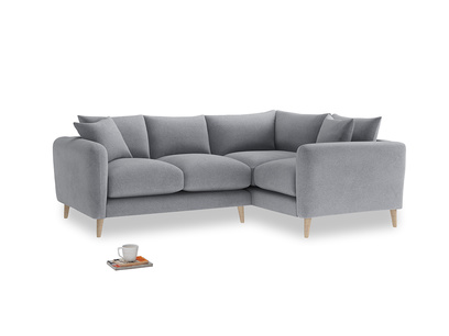 Large Right Hand Squishmeister Corner Sofa in Dove grey wool
