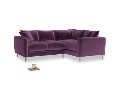 Large Right Hand Squishmeister Corner Sofa in Grape clever velvet
