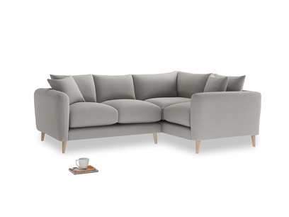 Large Right Hand Squishmeister Corner Sofa in Wolf brushed cotton