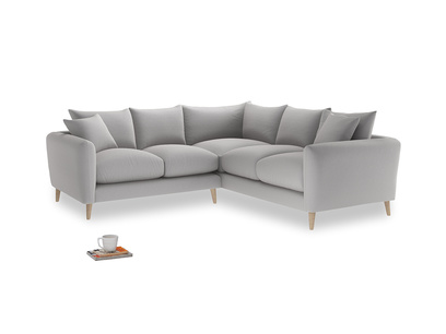 Even Sided Squishmeister Corner Sofa in Flint brushed cotton