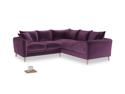 Even Sided Squishmeister Corner Sofa in Grape clever velvet