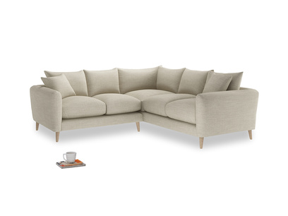 Even Sided Squishmeister Corner Sofa in Shell Clever Laundered Linen