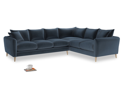 Xl Right Hand Squishmeister Corner Sofa in Liquorice Blue clever velvet