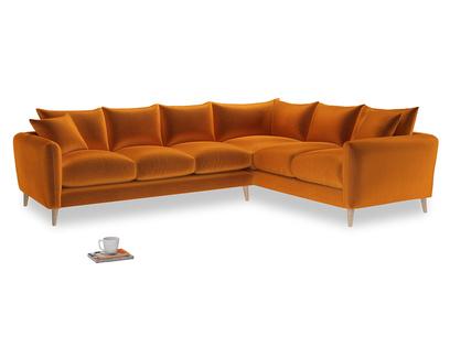 Xl Right Hand Squishmeister Corner Sofa in Spiced Orange clever velvet
