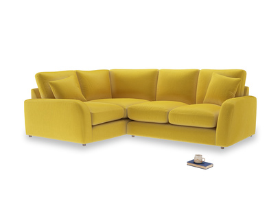 Large Left Hand Easy Squeeze Corner Sofa in Bumblebee clever velvet