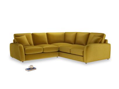 Even Sided Easy Squeeze Corner Sofa in Burnt yellow vintage velvet