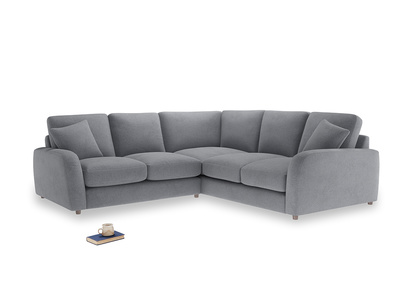 Even Sided Easy Squeeze Corner Sofa in Dove grey wool
