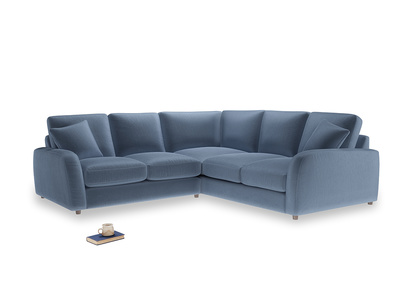 Even Sided Easy Squeeze Corner Sofa in Winter Sky clever velvet