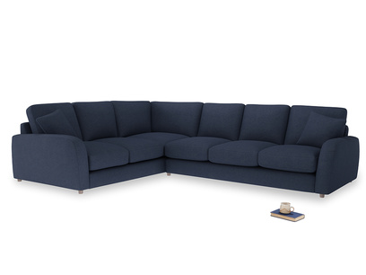 Xl Left Hand Easy Squeeze Corner Sofa in Night Owl Blue Clever Woolly Fabric
