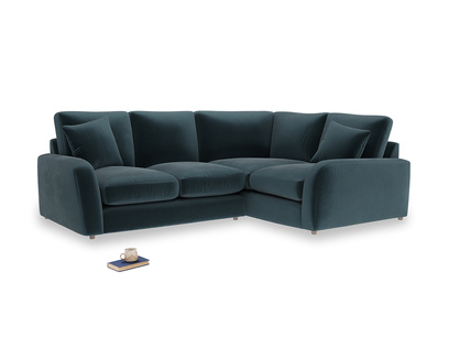 Large Right Hand Easy Squeeze Corner Sofa in Bluey Grey Clever Deep Velvet