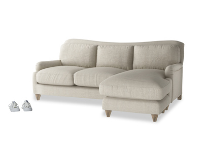 Large right hand Pavlova Chaise Sofa in Thatch house fabric