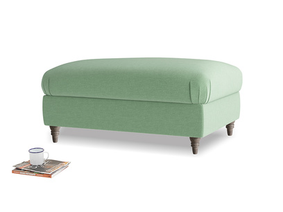 Rectangle Flatster Footstool in Thyme Green Vintage Linen