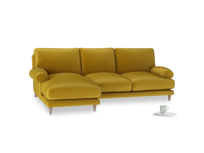 Large left hand Slowcoach Chaise Sofa in Burnt yellow vintage velvet