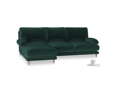 Large left hand Slowcoach Chaise Sofa in Dark green Clever Velvet