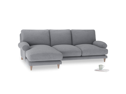 Large left hand Slowcoach Chaise Sofa in Dove grey wool