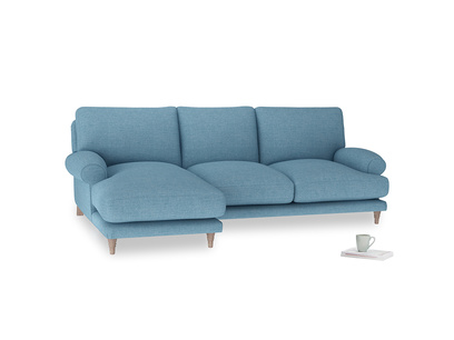 Large left hand Slowcoach Chaise Sofa in Moroccan blue clever woolly fabric