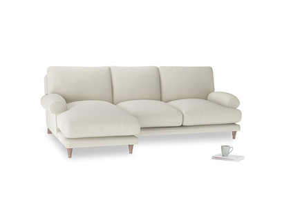 Large left hand Slowcoach Chaise Sofa in Oat brushed cotton