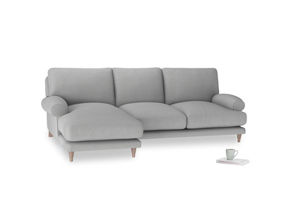 Large left hand Slowcoach Chaise Sofa in Pewter Clever Softie