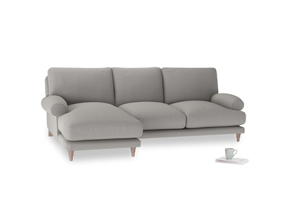 Large left hand Slowcoach Chaise Sofa in Wolf brushed cotton