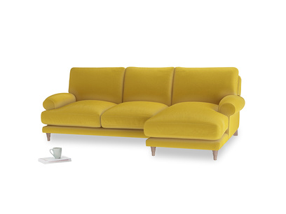 Large right hand Slowcoach Chaise Sofa in Bumblebee clever velvet