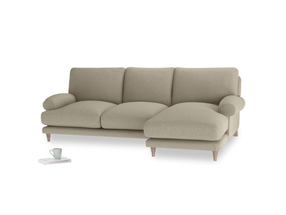 Large right hand Slowcoach Chaise Sofa in Jute vintage linen