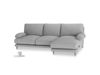 Large right hand Slowcoach Chaise Sofa in Pewter Clever Softie