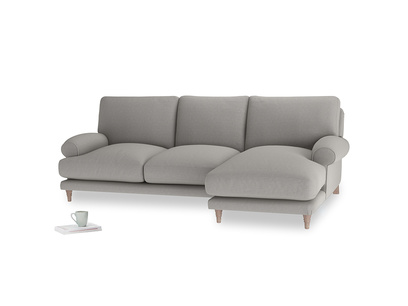 Large right hand Slowcoach Chaise Sofa in Wolf brushed cotton