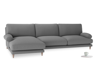 XL Left Hand  Slowcoach Chaise Sofa in Gun Metal brushed cotton