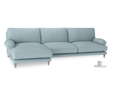 XL Left Hand  Slowcoach Chaise Sofa in Powder Blue Clever Softie