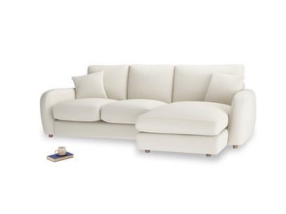 Large right hand Easy Squeeze Chaise Sofa in Chalky White Clever Softie