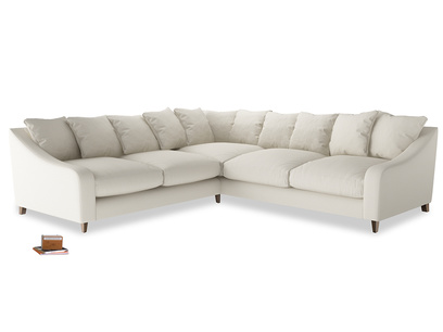 Even Sided Oscar Corner Sofa  in Chalky White Clever Softie