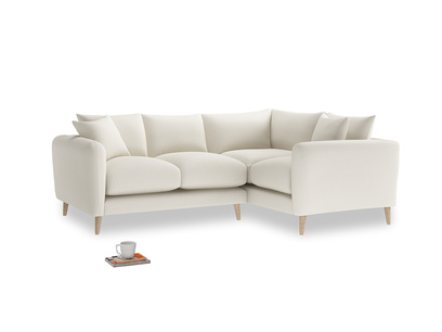 Large Right Hand Squishmeister Corner Sofa in Chalky White Clever Softie