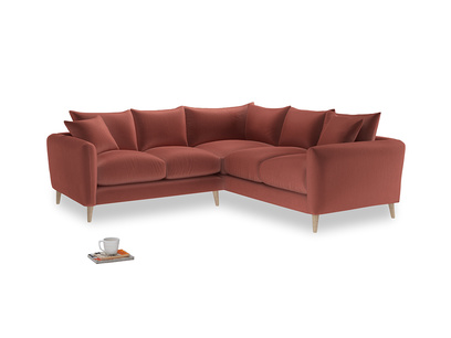 Even Sided Squishmeister Corner Sofa in Dusty Cinnamon Clever Velvet