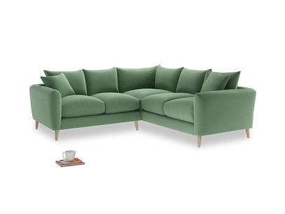 Even Sided Squishmeister Corner Sofa in Thyme Green Vintage Linen