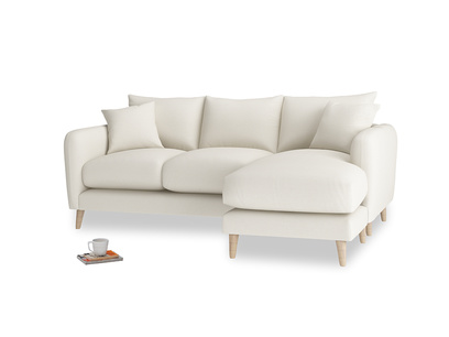 Large right hand Squishmeister Chaise Sofa in Chalky White Clever Softie