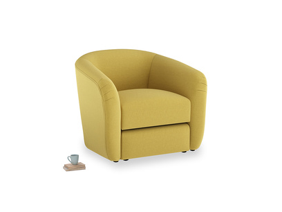 Tootsie Armchair in Maize yellow Brushed Cotton
