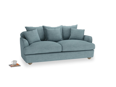 Medium Smooch Sofa in Soft Blue Clever Laundered Linen