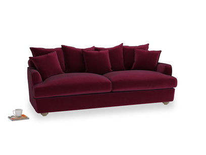 Large Smooch Sofa in Merlot Plush Velvet