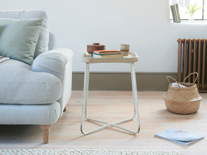 Cuppa Wooden Side Table with Metal Legs