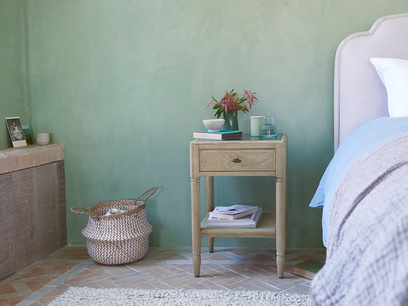 Albertine Stone Topped Solid Oak Bedside Table