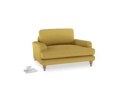 Cinema Love Seat in Easy Yellow Clever Woolly Fabric