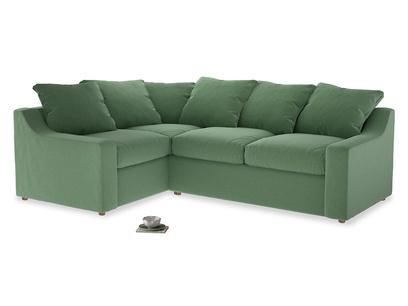 Large Left Hand Cloud Corner Sofa in Thyme Green Vintage Linen