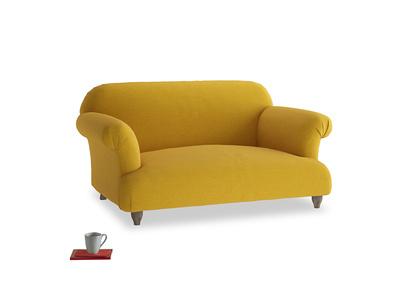 Small Soufflé Sofa in Yellow Ochre Vintage Linen