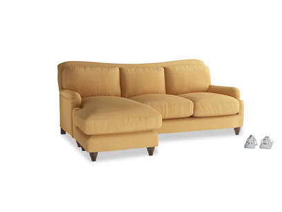 Large left hand Pavlova Chaise Sofa in Honeycomb Clever Softie
